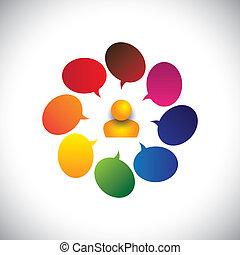 persona, también, concepto, charla, y, confusión, creatividad, vector, hombre, ideas., etc, gráfico, representa, opiniones, preguntas, señales, dudas, preguntas, o, indicar, icono