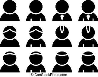 persona, vector, negro, iconos