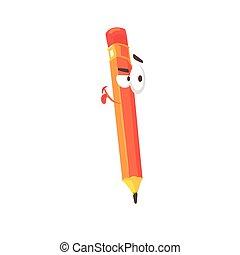 Personaje cómico de dibujos animados naranja lápiz, lápiz humanizado con vectores graciosos de ilustración