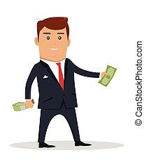 Personaje con ilustración de vectores de dinero