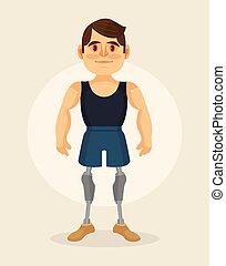 Personaje con prótesis de pies. Ilustración plana de dibujos animados