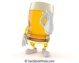 Personaje de cerveza con buen gesto