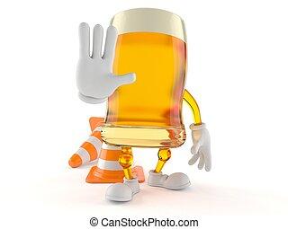 Personaje de cerveza haciendo gestos de alto
