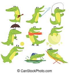 Personaje de cocodrilo humanizado todos los días colección de ilustraciones