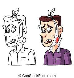 Personaje de colorear el dolor de muelas