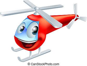 Personaje de dibujos animados de helicóptero