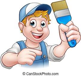 Personaje de dibujos animados decoradores de pintores