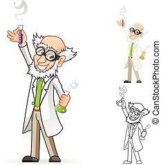 Personaje de dibujos científicos