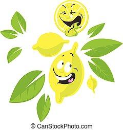 Personaje de dibujos de limón con cara graciosa - ilustración vectorial