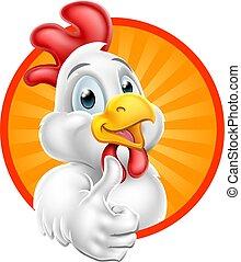 Personaje de dibujos de pollo dando pulgares arriba