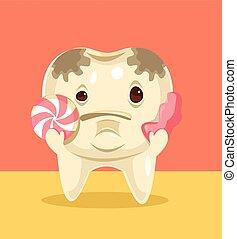 Personaje de dientes con dulces. Ilustración plana de dibujos animados