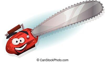 Personaje de motosierra de dibujos animados