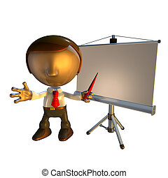 Personaje de negocios 3D con equipo de presentación