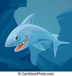 Personaje de tiburón con dientes afilados. Ilustración plana de dibujos animados