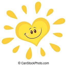 Personaje del corazón del sol sonriente