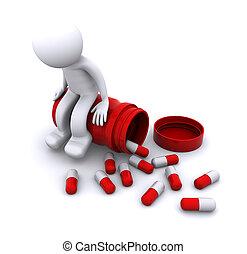 Personaje enfermo en 3D sentado en pastillas