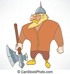 Personaje gracioso, vikingo, ilustración vectorial