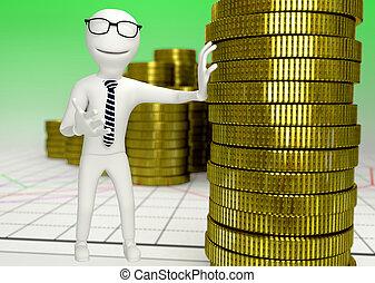 Personaje humano blanco con una pila de monedas