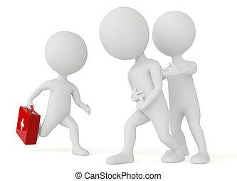 Personaje humanoide 3d corriendo con un kit de primeros auxilios