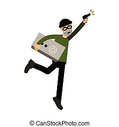 Personaje ladrón corriendo con un vector de Ilustración seguro y de armas