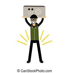 Personaje ladrón sosteniendo una caja fuerte en un vector de Ilustración altamente elevado de manos
