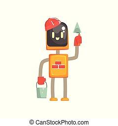Personaje robot buider, androide de pie con la trowel y la ilustración de vectores de caricatura de cubo