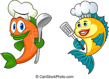 Personajes de chef de dibujos animados