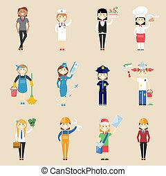 Personajes de chicas con ropa profesional