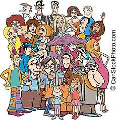 Personajes de dibujos en la multitud