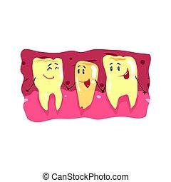Personajes de dientes lindos con caras graciosas en una ilustración de vector de boca