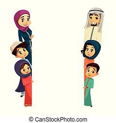 Personajes de personajes de familia Vector arab plantilla