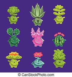 Personajes de plantas fantásticas alienígenas con vegetación suculenta y raíces humanizadas con caras amistosas y pegatinas emoji