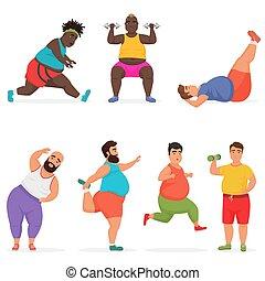 Personajes divertidos de gordo regordetes haciendo ejercicios de gimnasia. Figura deportiva.