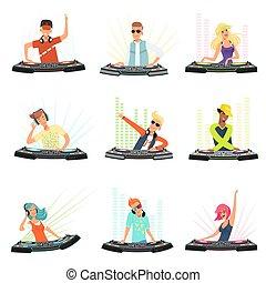Personajes DJ. Músicos masculinos y femeninos en los auriculares para la música discográfico vector personas