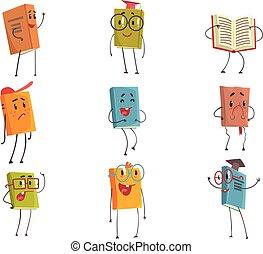 Personajes emoticonos humanitarios que representan diferentes tipos de literatura, niños y libros escolares
