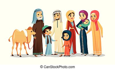 Personajes familiares árabes de dibujos animados Vector, set de camellos