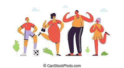 Personajes familiares felices. Padres con hijos. Padre e hijo, madre e hija. Dibujos plano de familia. Ilustración de vectores