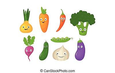 Personajes graciosos de dibujos animados vegetales, vegetales lindos con caras graciosas vector de ilustración