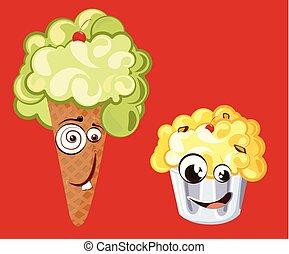 Personajes graciosos de helado con cara sonriente linda ilustración vectorial