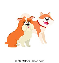 Personajes lindos, divertidos de perros, akita inu japonés y bulldog inglés