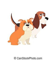 Personajes lindos, divertidos de perros, Jbasset sabueso y bulldog inglés