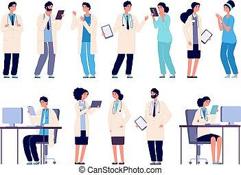Personajes médicos. Personal del hospital médico. Doctor en enfermería dentista farmacéutico en uniforme médico, vector plano fijado