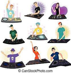 Personajes masculinos y femeninos DJ con auriculares en la fiesta del club aislados en blanco