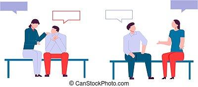 Personajes modernos de dibujos animados planos hablando, estilo colorido. Gente colorida en la conversación. Una conversación amistosa