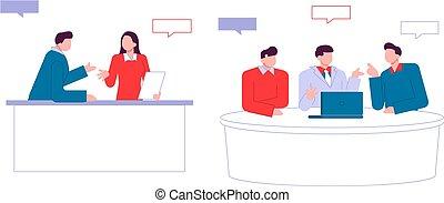 Personajes modernos de dibujos animados planos hablando, estilo colorido. Gente colorida en la conversación. Buenas noticias.