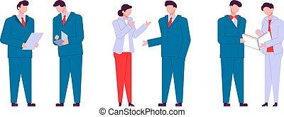Personajes modernos de dibujos animados planos hablando, estilo colorido. Gente colorida en la conversación. Gente de negocios.