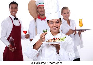 Personal de comida y el sector de catering
