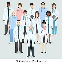 Personal del hospital. Grupo de doce hombres y mujeres médicos y enfermeras. Gente médica. Ilustración de vectores de estilo plano.