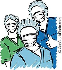 personal, doctors, ilustración, vector, médico