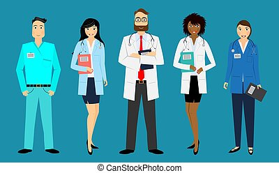 personal, enfermeras, vector, médico, -, doctors, ilustración